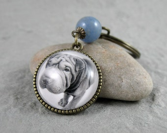 Shar Pei Key Ring, Pet Drawing, Pet Gift, Shar Pei Keychain, Dog Art, Silver, Bronze, Gemstone, Blue Aventurine