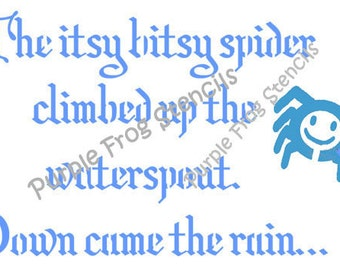 Itsy Bitsy Spider Stencil, Nursery Rhyme Different Sizes Available