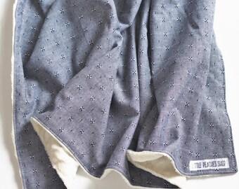Minky Baby Blanket Minky Blanket Baby Blankets Baby Blanket Minky Receiving Blanket Baby Blankets Handmade Minky Baby Blanket Girl Chambray