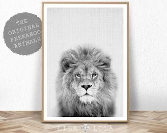 Nursery Animal Print, Lion Wall Art, Kids Room Poster, Printable Kids Gift, Digital Download, Black and White Lion, Lila and Lola
