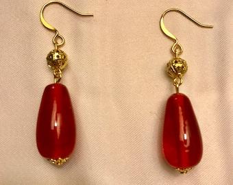 Senorita Roja Red Glass Dangle Earrings