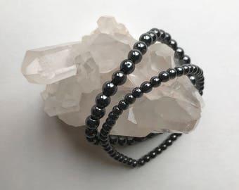 Hematite Bracelet, grounding stone, crystal bracelet, crystal healing, birthday gift, crystal jewelry