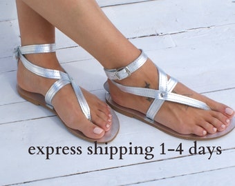 ANTIGONE 5 sandals/ Greek leather sandals/ ankle cuff sandals/ ancient grecian sandals/ handmade thong sandals/ Greek flats/ silver sandals