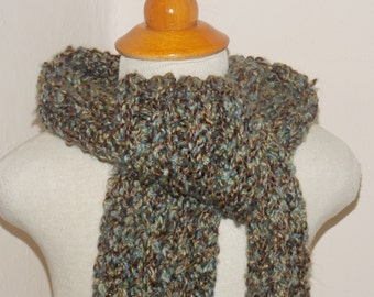 Multicolored knit scarf.  Chunky ribbed scarf.