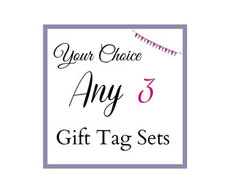 any 3 sets of gift tags, your choice, value bundle, gift tags with deluxe ribbon, gift labels, swing tags