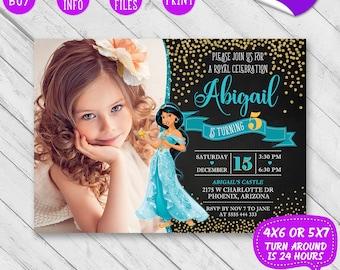 Printable Jasmine Birthday Invitations ~ Disney princess jasmine favor cupcake topper with name and age