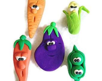 Clay Vegetable Character Fridge Magnet Set,  Veg Magnets, Fridge Magnets, Polymer Clay,  Vegan Magnets, Vegan Friendly Gift, Miniature Food