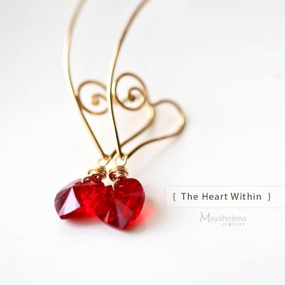 The Heart Within - 14k Gold Filled Wire Sculpted Hoops with Swarovski Crystal Hearts