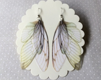 Wings - Handmade Ivory Pale Blue and Green Silk Organza Butterfly Cicada Moth Wings Earrings