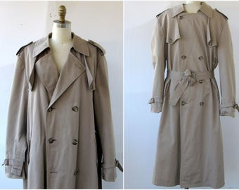 Vintage Christian Dior Dark Khaki Trench Coat Mens Sz 42L zip out Wool Lining  Zips Out Double Breasted