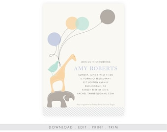 Gender Neutral Baby Shower Invitation | Baby Shower Invitation Elephant, Diaper Raffle, Book Request, Printable Template, Instant Download
