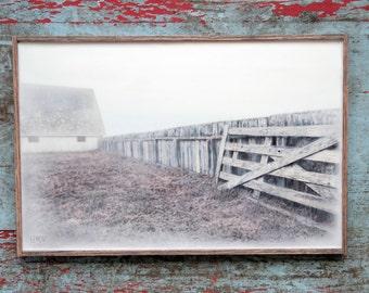 Tomales Point Broken Fence. Original Encaustic Photography. Point Reyes, California. Fine art wall decor. Fog. Rustic frame. 11x17