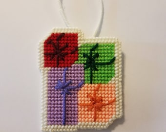 Christmas Presents Grouped Together Christmas Ornaments-Handmade Plastic Canvas