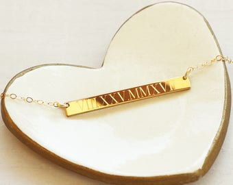 Roman Numeral Necklace - Wedding Date Necklace - 14K Gold Filled Bar Necklace