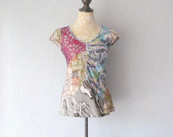 T-shirt short sleeve Patchwork recycled clothing, women size 40 / M