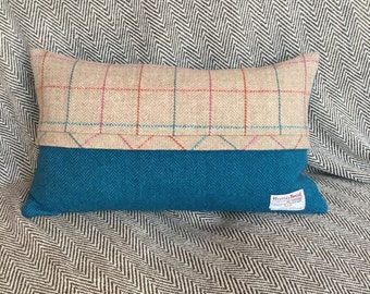 Cushion, Pillow, Rectangle, Wool, Authenticated Harris Tweed, Blue, Beige/Red/Blue Check, Zip, Feather filled, Cotton insert, Handmade