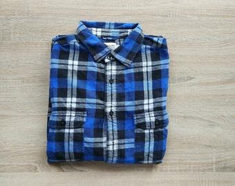 Flannel tartan blue shirt