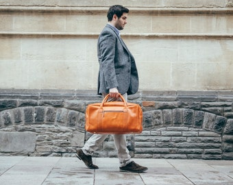 Leather weekender bag holdall overnight duffle bag cabin travel luggage for men - Niche Lane Pioneer Cognac