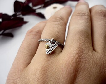 Handmade sterling silver ring with heart charm with gold pearl,  Mother-daughter ring, silver charm ring, simple ring, gift for her, Quebec