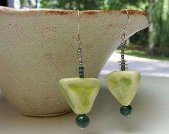 Woodsy Green Earrings Handmade Beads