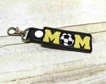 Soccer Mom Keychain, Sports Mom Key Fob, Soccer Mom Bag Tags, Mom Keyring, Yellow Mom Soccerball Key Chain