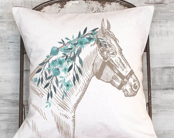 puff pillow horse painterly products