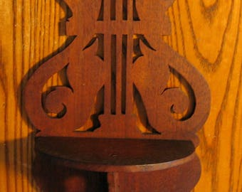 Vintage WALNUT MUSICAL LYRE Shelf from the 1940s