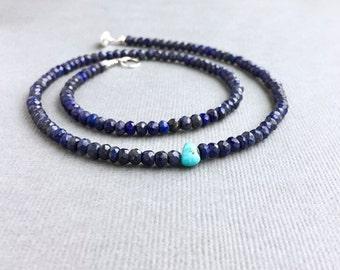Lapis Sleeping Beauty Turquoise Necklace, Gemstone Boho Beaded, Simple Minimal Layering, Silver, Everyday, Sundance Style, Wrap Bracelet