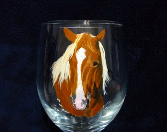 Horses Memorial Wine Glasses Hand Painted and Made to Order by Pigatopia