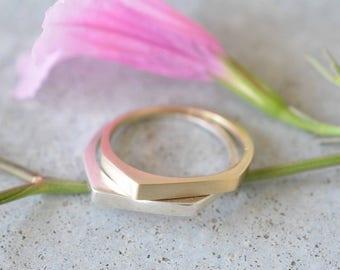 14k gold solid ring, 14k gold wedding band, gold wedding band set, wedding ring, geometric ring, geometric gold ring, 14k gold band ring