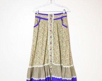 1970s Floral Print Hippie Boho Tiered Prairie Skirt M