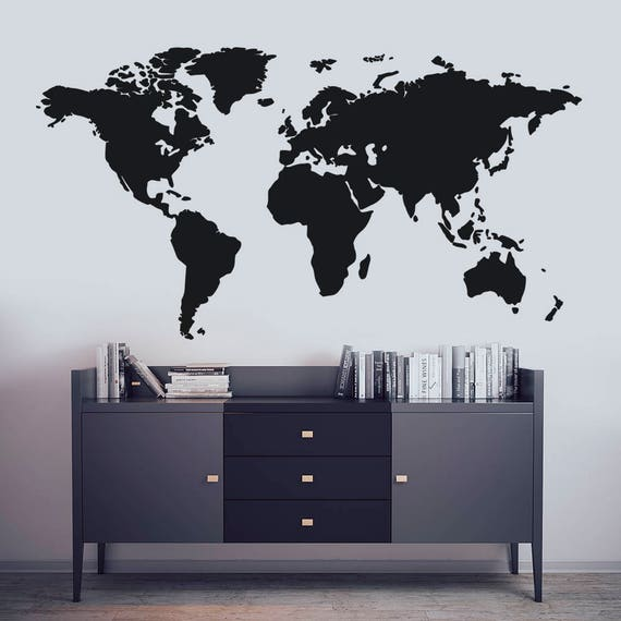 Map wall art world map decal world map mural map wall like this item gumiabroncs Choice Image