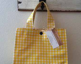 Beth's Yellow Gingham Oilcloth Lunch Box Tote Bag