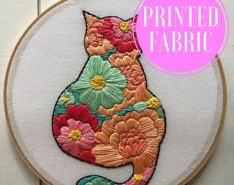 printed fabric | hand embroidery kit | embroidery kit | diy embroidery | diy embroidery kit | embroidery pattern | cat