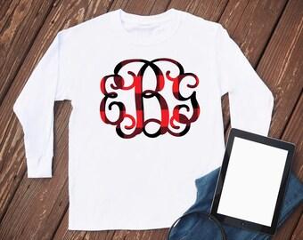 Red Plaid Monogram Shirt - Comfort Colors - monogram long sleeve - comfortable shirt - womens tshirt