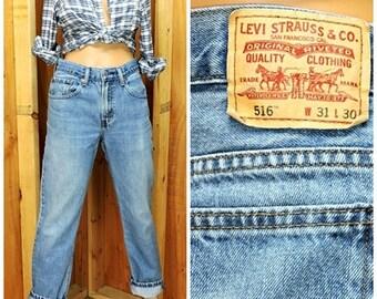 Vintage Levis 516-Jeans slim-fit 31 X 30 Boyfriend-Jeans / Damen Größe 9 verblasst Mittel waschen hoch Wasited Levi Jeans