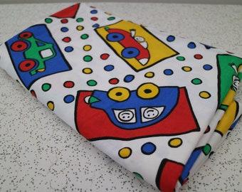 brroom brroom...vintage childrens print fabric yardage