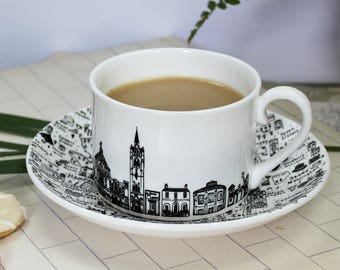 North London tea cup & saucer set - Fine Bone China