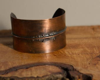 Hand Textured Fold Formed Copper  Bracelet