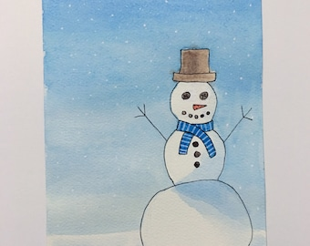 "ORIGINAL Snowman Watercolor Painting - Snow - Winter - 4""x6"" - Free Shipping"