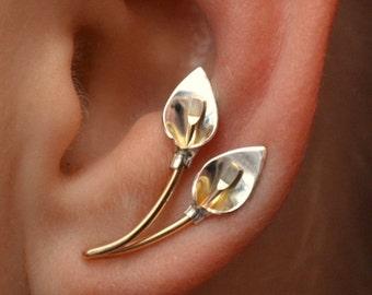 Calla Lily - Ear Climber -  Ear Wrap - Ear Crawler - Ear Cuff - Silver Ear Climbers - Gold Ear Climbers - sterling Ear Climbers - earcuff