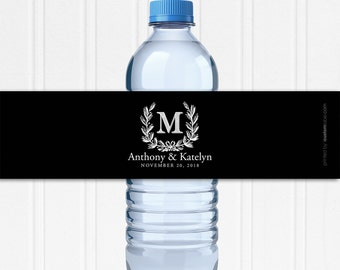 Wedding Water Bottle Labels - Custom Water Bottle Labels - Waterproof Labels - Custom Water Labels - Monogram Wedding