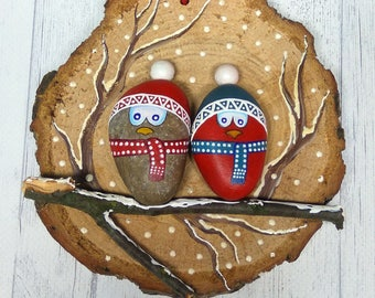Stone Painting-Christmas Birds- Rock Painting-Wood painting-Christmas gift-Interior decor-Christmas Birds Art-Hand Painted Birds