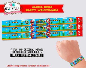 Mario Birthday Party Wristbands, 40 pack - Mario Bros Party - Mario Bros Party Favor - Mario Bros Birthday - Mario Bros