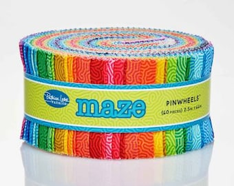Maze 2-1/2 Inch Strips Jelly Roll, 40 Pieces, Patrick Lose Studios, Precut Fabric, Quilt Fabric, Cotton Fabric, Geometric Fabric