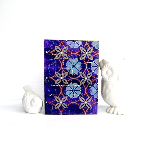 Purple Flowers Colorful wall art on hollow wood box
