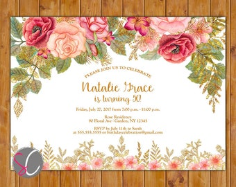 Watercolor Glitter Floral Birthday Invite Digital Flowers invitation 40th 50th 60th Any Age Printable 5x7 Digital JPG file (595)