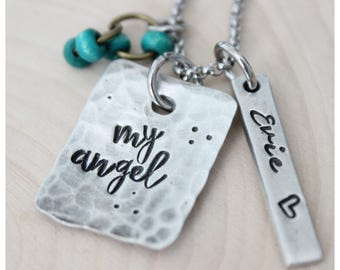My angel, Angel mom necklace, personalized jewelry, name necklace, miscarriage, loss, baby loss, miscarriage gift