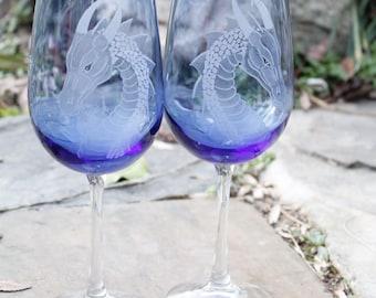 Personalized Blue Dragon Wine glass set  Elegant Gift ideas  Wedding toast  Bridal Party  colorful wine glass fantasy art