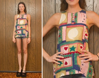 Vintage 90s Silk Pastel Graphic Sun Moon Star Balloon Heart Abstract Red Block Blue Green Pink Sleeveless Tunic Blouse Button Tank Top XS S